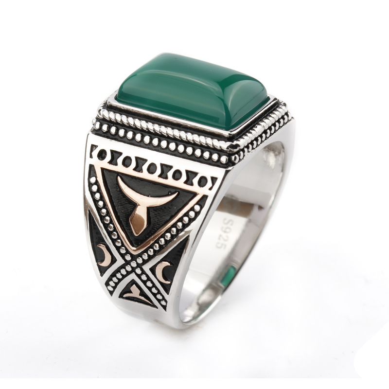 925 Sterling Silver Setting Green Agate Geometric Stone Ring Punk Style for Men Finger Ring Jewelry punk style solid color hollow out ring for women