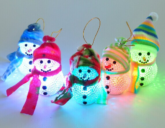 2014 New Arrival Hot Sale Christmas tree decorations Christmas tree ornaments 8cm acrylic flash LED Christmas Snowman