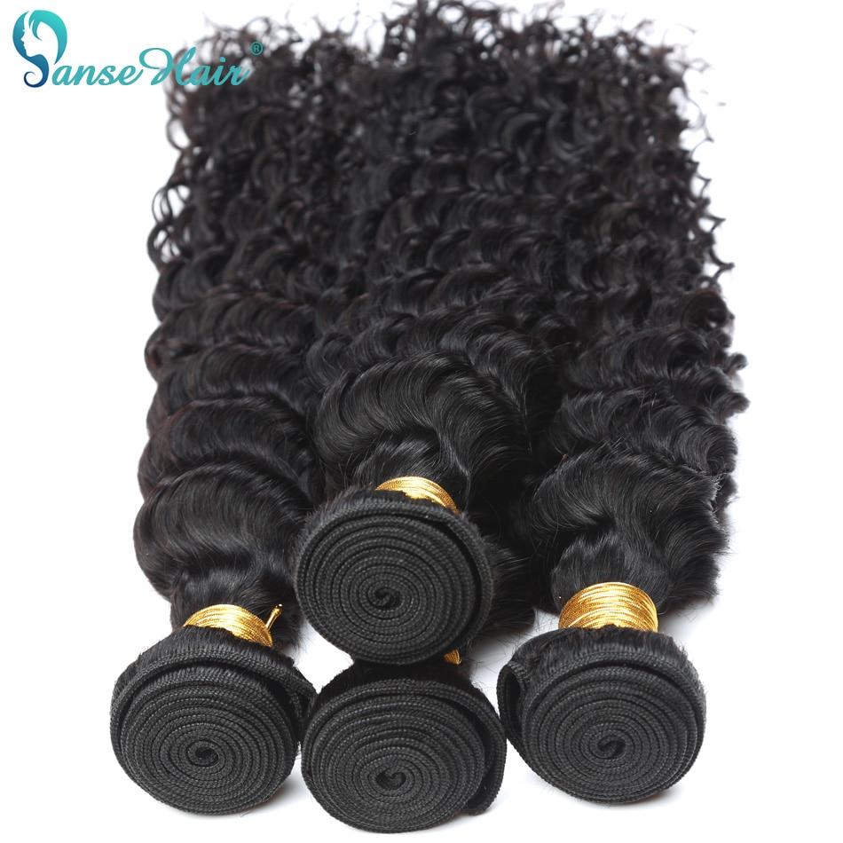 Panse Hair Deep Wave 4 Bundles Per Lot Malaysian Human Hair Weaving - Mänskligt hår (svart) - Foto 5