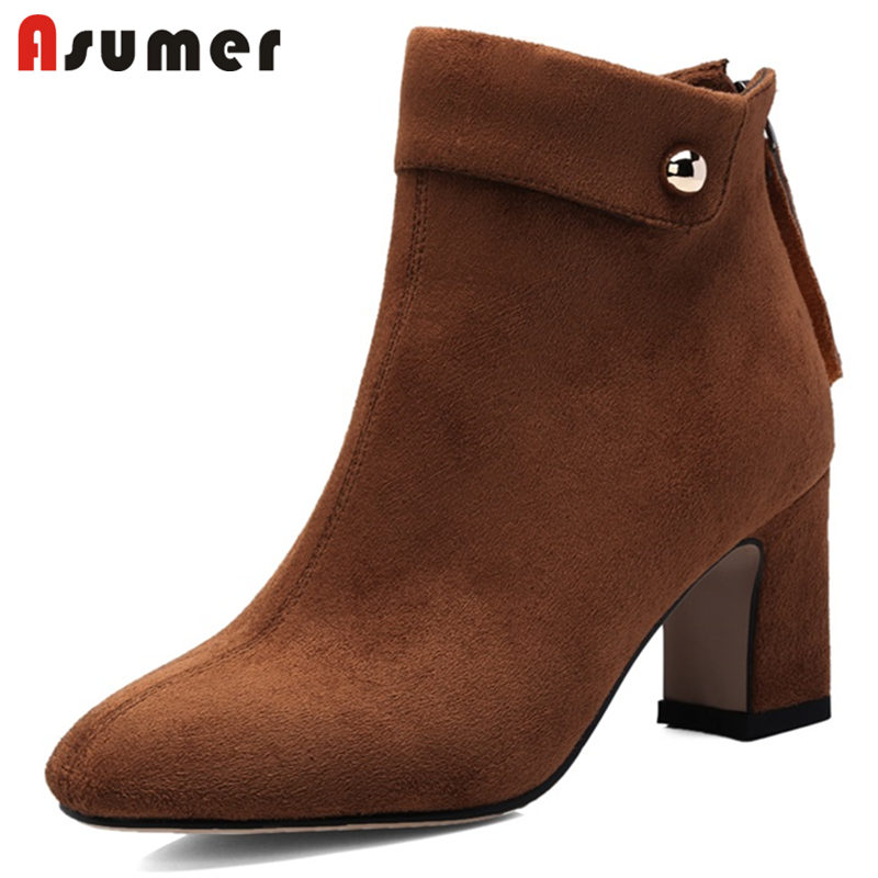 ASUMER BIG SIZE 34-43 2018 HOT fashion faux suede ankle boots women pointed toe thick high heels zipper autumn winter bootsASUMER BIG SIZE 34-43 2018 HOT fashion faux suede ankle boots women pointed toe thick high heels zipper autumn winter boots