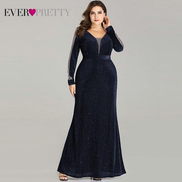 Plus Size Evening Dresses Long Ever Pretty EP07394 Elegant Sparkle Mermaid V-neck Velvet Long Sleeve Black Wedding Guest Gowns Evening Dresses