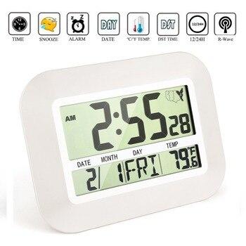 大きな番号大型液晶デジタルウォールクロックテーブルウォッチ壁画ニキシー電子デスク目覚まし時計付き温度スヌーズカレンダーデジタル時計