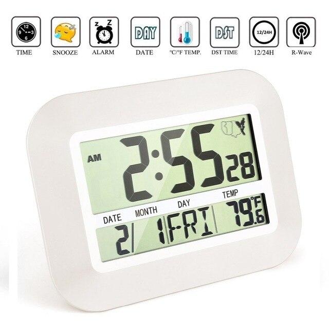 5484297e1edc Número grande reloj controlado por Radio pared LCD grande Reloj de pared  Digital Snooze Electronic reloj