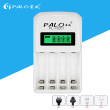 PALO 4 Slots LCD Display Smart Intelligent Battery Charger For AA/AAA NiCd NiMh Rechargeable Batteries