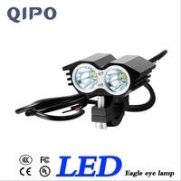 QIPO 2pcs Super Bright Motorcycle LED Headlight Eagle Eye Styling LED Spotlight 20W Auxiliary Fog Lamp