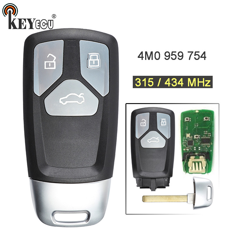 KEYECU 315/ 434MHz 8S0 959 754 Keyless Entry 3 Button Smart Remote Key Fob for Audi A4 A5 Q7 SQ7 2017-up