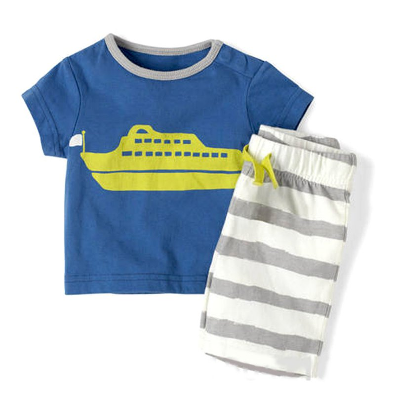 Baby Boy Toddler Short Sleeve T-Shirt Striped Pants Clothes Outfits Sets new hot sale 2016 korean style boy autumn and spring baby boy short sleeve t shirt children fashion tees t shirt ages