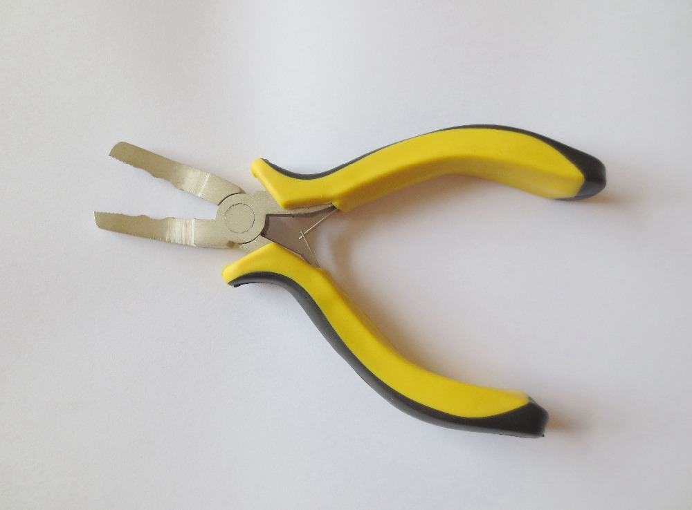 50 Шт./лот 5 дюймов Желтый Бент Плоскогубцы Носа с челюсти зажим Для Волос для микро кольца волос