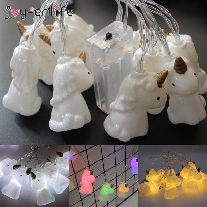 JOY-ENLIFE 2 mt Einhorn Kopf LED String Lichter Laternen Lampe Zimmer Hintergrund Decor Neue Jahr 2019 Dekoration Einhorn Geburtstag Decor