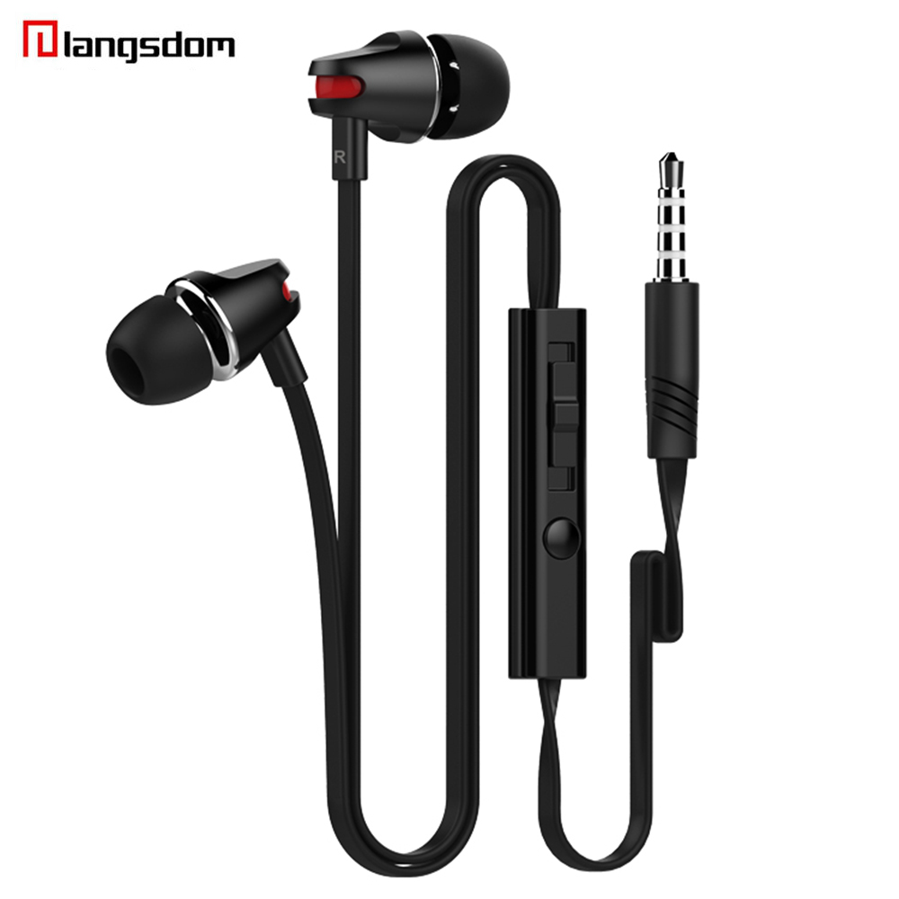 Langsdom In-Ear Stereo Earphone 3.5MM Earbuds Subwoofer Headset Fone De Ouvido With Mic+Volume Control For Smart Phone цена и фото