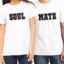 PSTYLE Soul Mate Couple T Shirt for Lovers Summer Short Sleeve T-shirt Men and Women Clothes