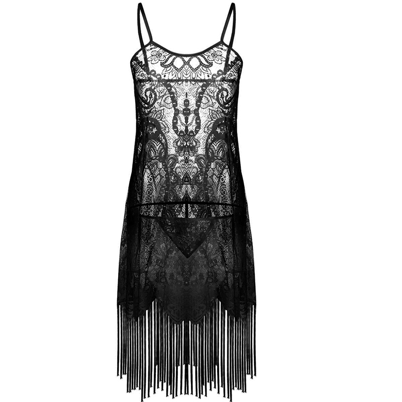 Sexy Women Black/White Lace Tassels Nightdress Transparent Dress Evening Nightgown Sleepwear Lingeries for Lady Grils Bridesmaid