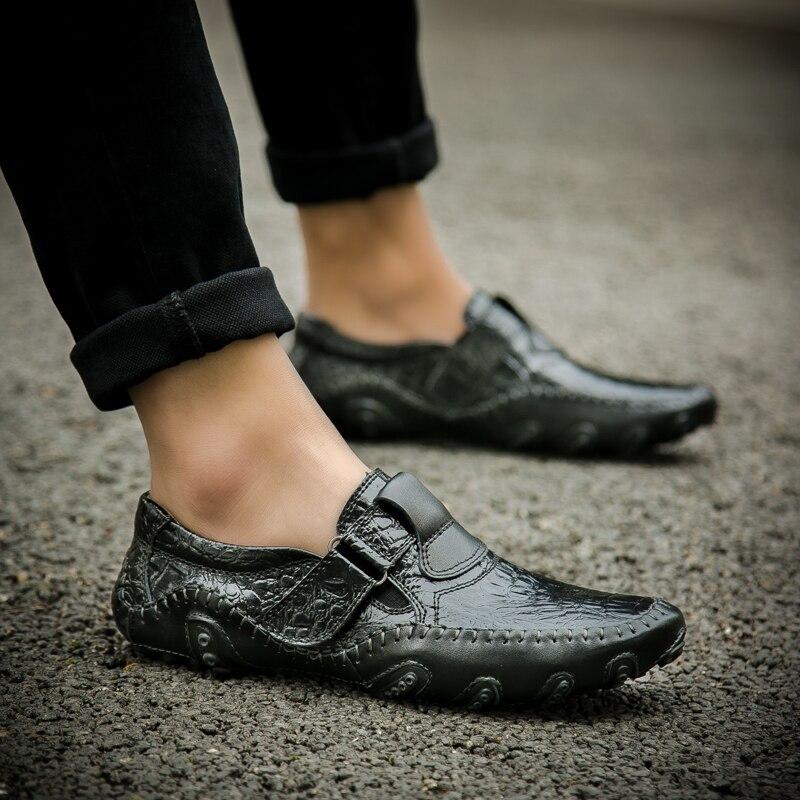 2018 Noir Respirant Noir Hommes La En Mode Casual Glissement Mocassins À Conduite Main Cuir Chaussures Luxe marron De Véritable qaprqTOx