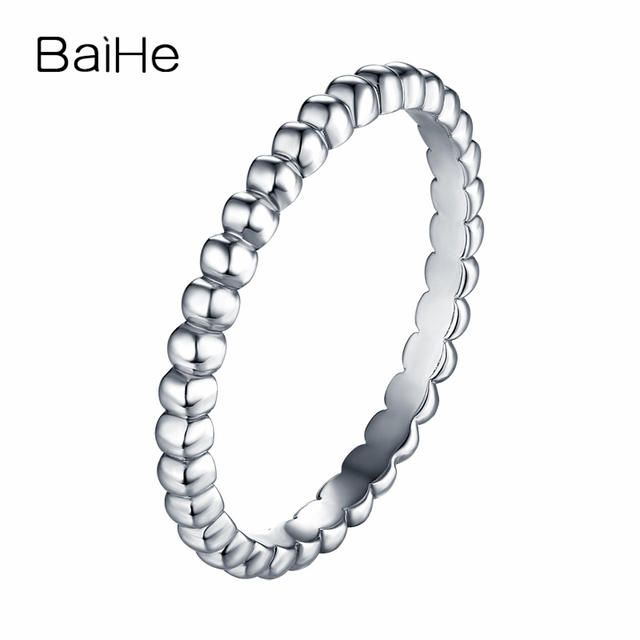 BAIHE Solid 14K White Gold(AU585) Certified Engagement & Wedding Women Trendy Fine Jewelry Elegant unique fashion Gift Ring