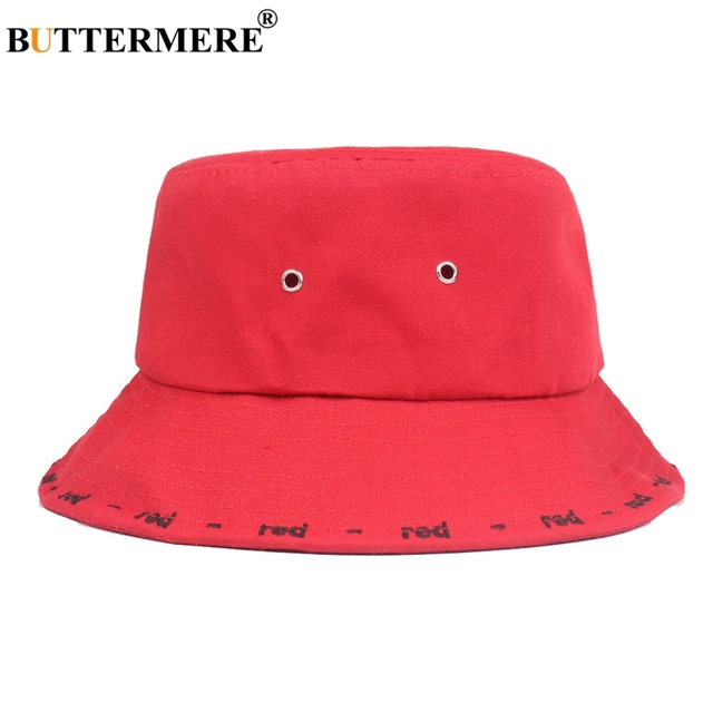 BUTTERMERE Men Bucket Hat Cotton Cool Embroidered Red Fisherman Hat Women Spring  Summer Japanese Fashionable Hip 9efefc6a370