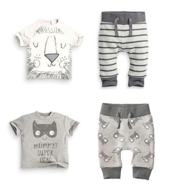 Retail 2017 primavera ropa infantil ropa de bebé establece boy Algodón pequeños monstruos y los leones de manga corta 2 unids bebé ropa