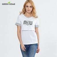 Green Home Letter Nursing Tops Maternity Clothes T Shirt Short Breastfeeding Tops Cotton Nursing Tops