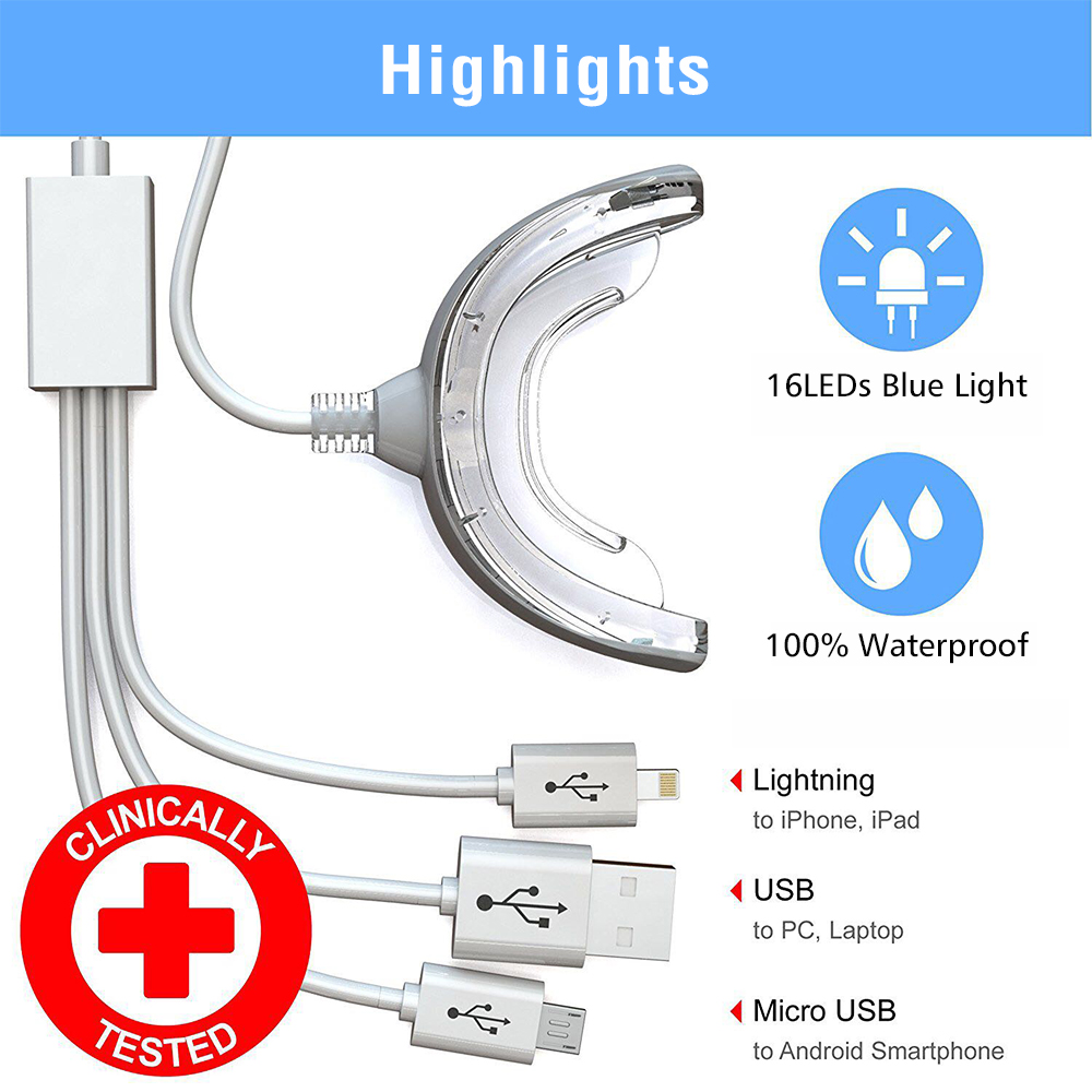 16 LEDs Cold Light Teeth Whitening Device Mouth Tray USB Dental Professional Tooth Whitener Bleaching Personal Oral Care Tool 1
