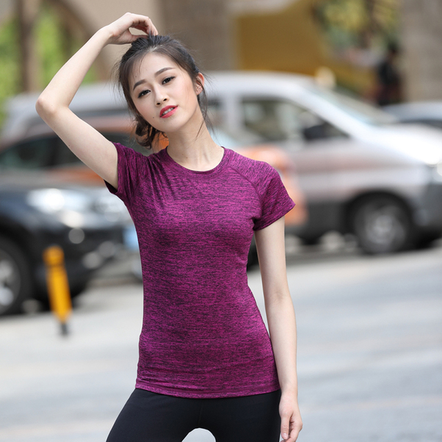 Lijalai yoga shirts for fitness Short sleeve breathable quick dry clothing tight fitting sports top running tank women's t-shirt