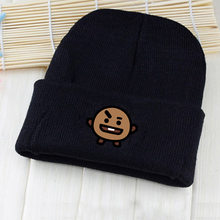 083b2be32a7 BTS KPOP 2018 new hat spring autumn winter Korean version men women Cotton  knitting black Cartoon printing Wool cap Baseball cap