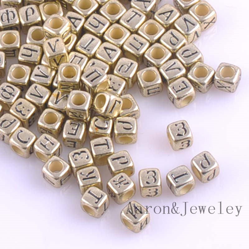Competent 6x6mm Mixed Gold Acrylic Russian Alphabet/letter Cube Pony Beads For Jewelry Making 400pcs Ykl0513 Beads