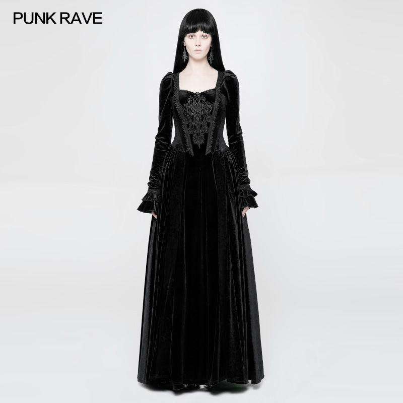 PUNK RAVE Women Long Dress Gothic Vintage Gorgeous Wedding Evening Party Victorian Palace Long Sleeve Dress for Women