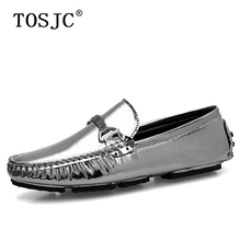 TOSJC Fashion Mens Casual Loafers Patent Leather Moccasins Male Lightweight Slip on Boat Shoes Man Flats Gommino Driving Shoes цены онлайн