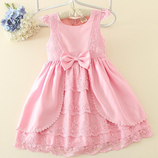 New Arrival Girl Ball Gown Princess Dress Pink Bow Short Sleeve Pageant Flower Girls Dresses Long For Children Prom Gown AD-1671 guess new pink long sleeve ruched body con dress xl $89 dbfl