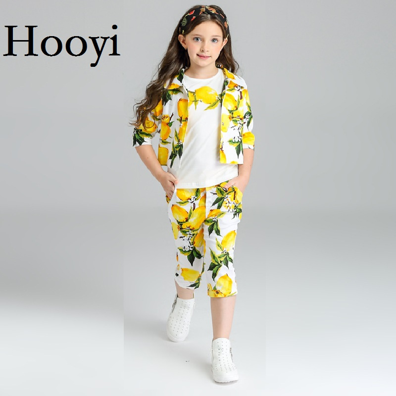 Hooyi Lemon Girl Clothes Sets Newest Fashion Children 3-Pieces Clothing Suit Jacket + T-Shirt + Pant Girl Outfits Cotton