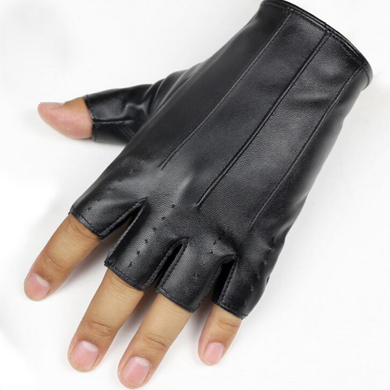 Men Women Half Finger Thin PU Leather Driving Gloves Fashion Sport Fitness Nightclub Dance Performance Punk Party Show Glove L65