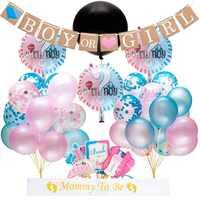 64 sztuk/partia płeć ujawnić przyjęcie balon dostarcza 36 Cal płeć ujawnić chłopiec lub dziewczyna Banner konfetti balon foliowy