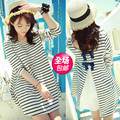 Maternity clothing spring and autumn fashion maternity stripe T-shirt 2015 maternity one-piece dress