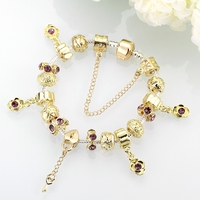 HERMOSA Jewelry New Gold Multicolor Beautiful Bead DIY Removable Plating Silver Woman Bracelet 20cm PDRH025