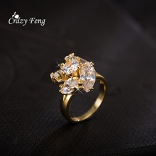 Luxury Hot Sale Best Gift For Women Fashion Wedding Jewelry Gold Color Trendy Femal Rings For