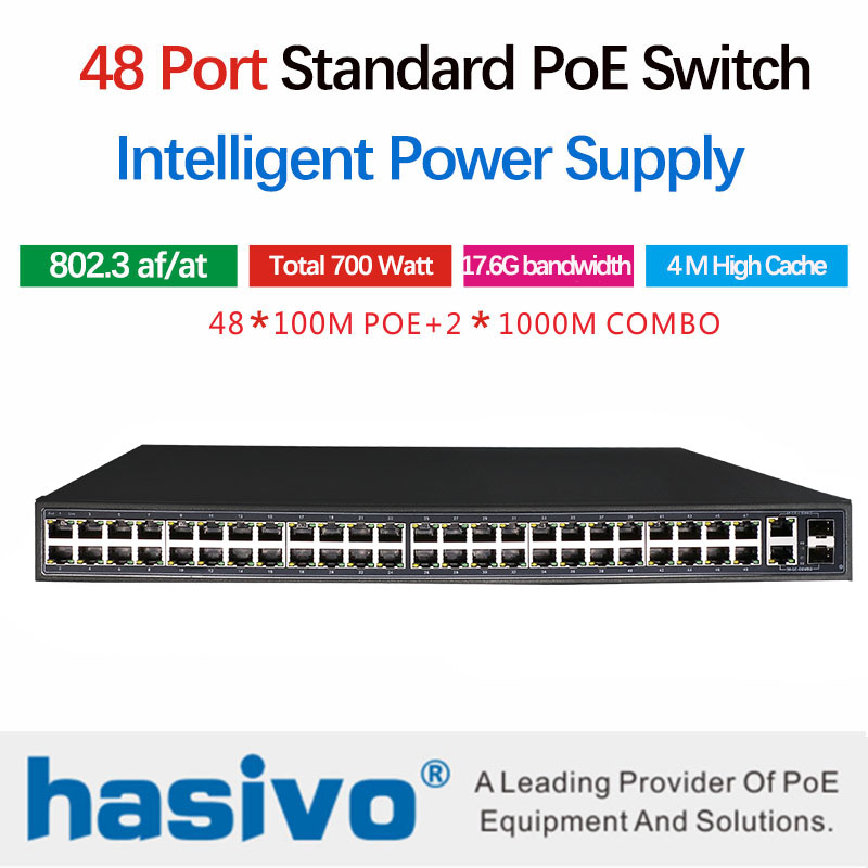 48 Ports POE Ethernet Switch With 48 POE Ports Power To Camera, Wireless Ap, With 48 10/100M 2 Port 1000M 2 Port SFP COMBO