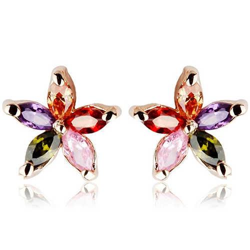 New Arrival Women's Fashion Gorgeous Multicolor Zircon Flower Ear Studs Earrings Jewelry