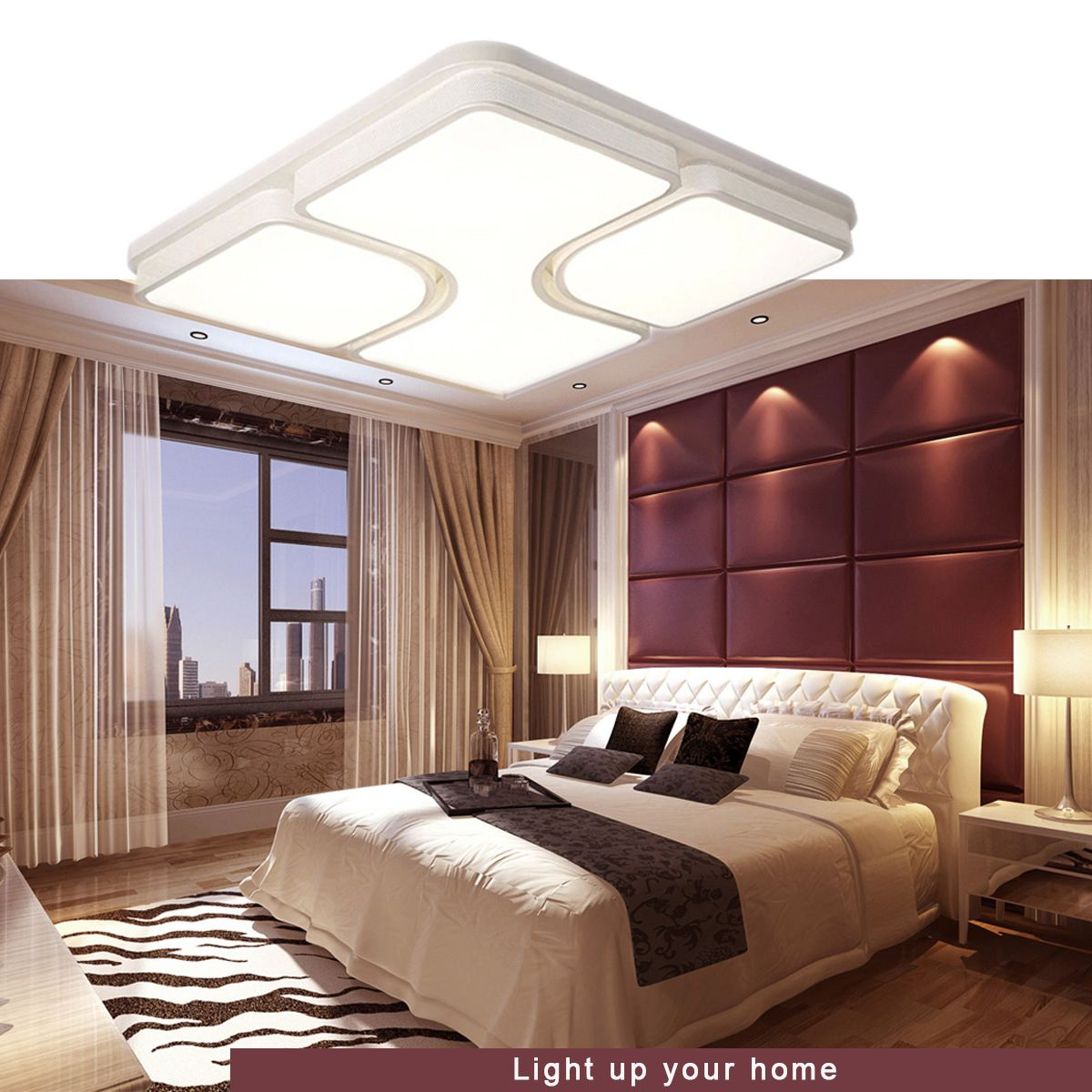 LED Square Design Modern Iron Ceiling Light Night Lamp Fixtures Living Room Bedroom Home Decor Indoor Warm White Lighting 24W noosion modern led ceiling lamp for bedroom room black and white color with crystal plafon techo iluminacion lustre de plafond
