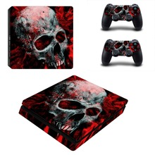 Skull PS4 Slim Sticker For Sony Playstation 4 Slim Console+Two Controller Skin Sticker For PS4 S Skin