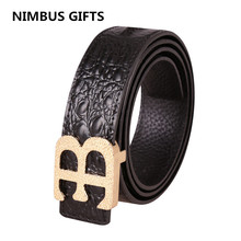 Men Crocodile pattern Genuine leather brand B BELT Luxury Belts for men SMOOTH Buckle Casual Dress men belt ceinture homme HM