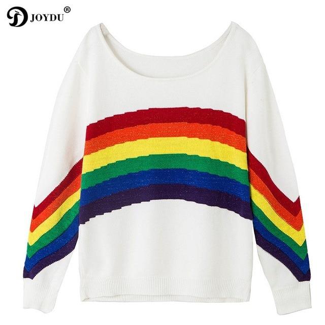 318214901e2c JOYDU Runway Designer Lady s Sweater 2018 Autumn Winter Chic Rainbow ...