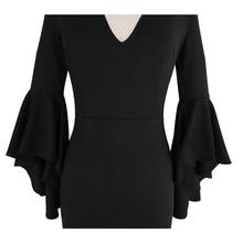 فستان ماكسي طويل بفتحة أمامية بأكمام طويلة فانوس