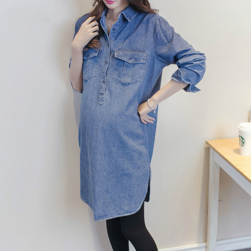 Envsoll 2018 Maternity Dress Long Sleeve T-shirts Pregnancy Clothes For Pregnant Women Denim Shirts Casual Maternity Clothing цена