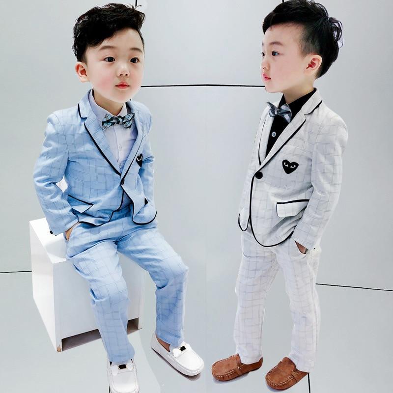 Children Formal Wedding Suits Sets Boys England Style Blazer Pants 2PCS Clothing Sets Kids Tuxedo Prom Dress Costume