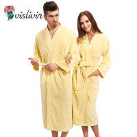 Vislivin 100 Cotton Couples Bathrobe Thick Unisex Bath Robe Winter Autumn Thickening Terry Lovers Bath Robes