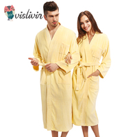 Vislivin 100 Cotton Couples Bathrobe Thick Unisex Bath Robe Winter Autumn Thickening Terry Lovers Bath Robes