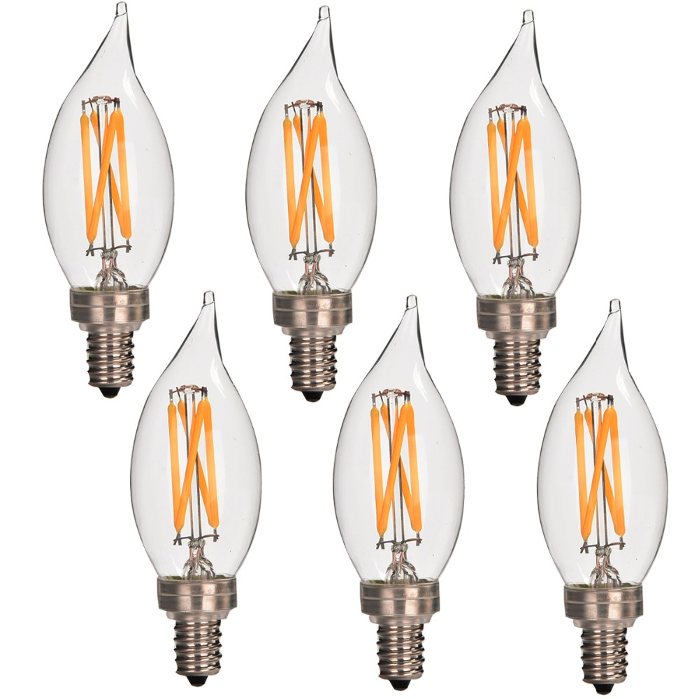 6 Pack Dimmable C35 Candelabra Led Light Bulb Filament 350Lumen CA10 E12 3.5W 120V 2700K Warm White UL Listed For USA CANADA
