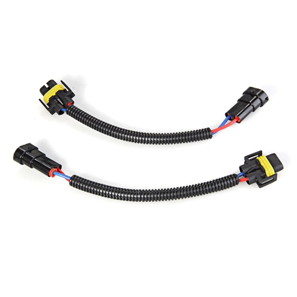 2pcs h8 h9 h11 extension adapter wiring harness sockets