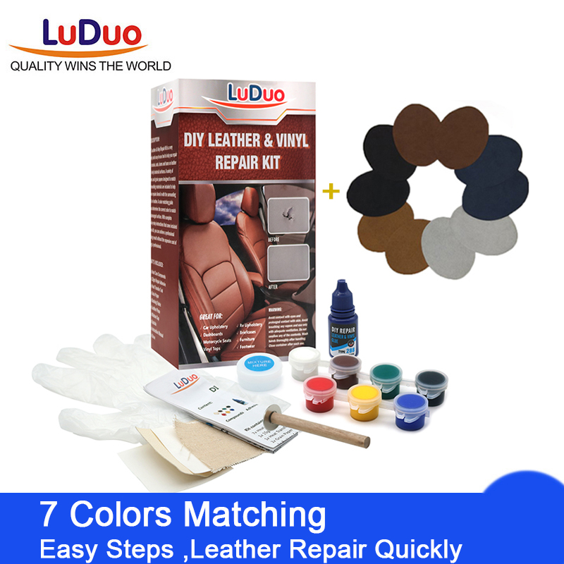 LuDuo Vinly Liquid Leather Repair Kit Glue Paste Car Seat Skin Repair Clothing Shoes Boot Fix Crack Paint Care with 10pcs Patch(China)