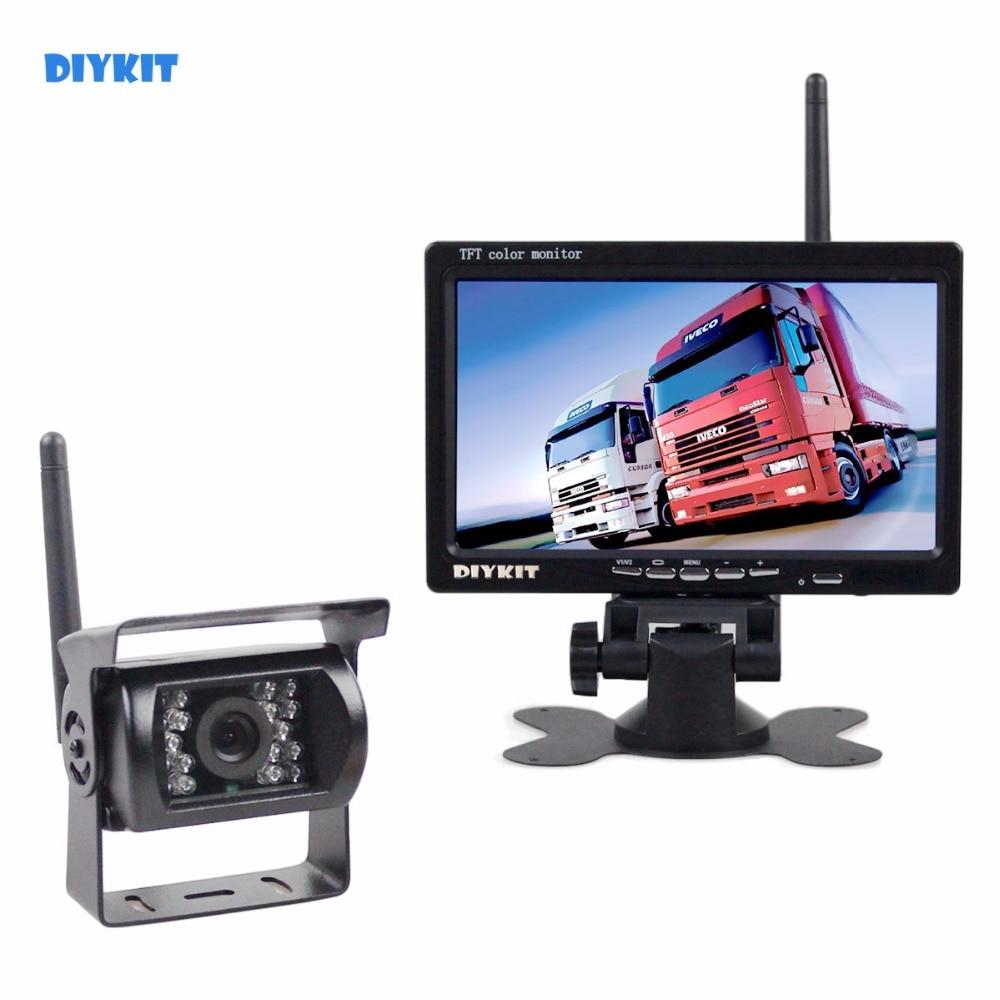DIYKIT 7 inch HD Achteruitrijcamera Auto Monitor + IR Nachtzicht auto Backup Camera Draadloze Parking Voor Auto Bus Vrachtwagen Caravan Trailer RV