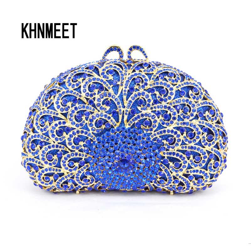 Королевский синий цвет кристалл вечерняя женская обувь для вечеринки сцепления кошелек алмаз дамы Pochette мешок свадьбы сумка SC304